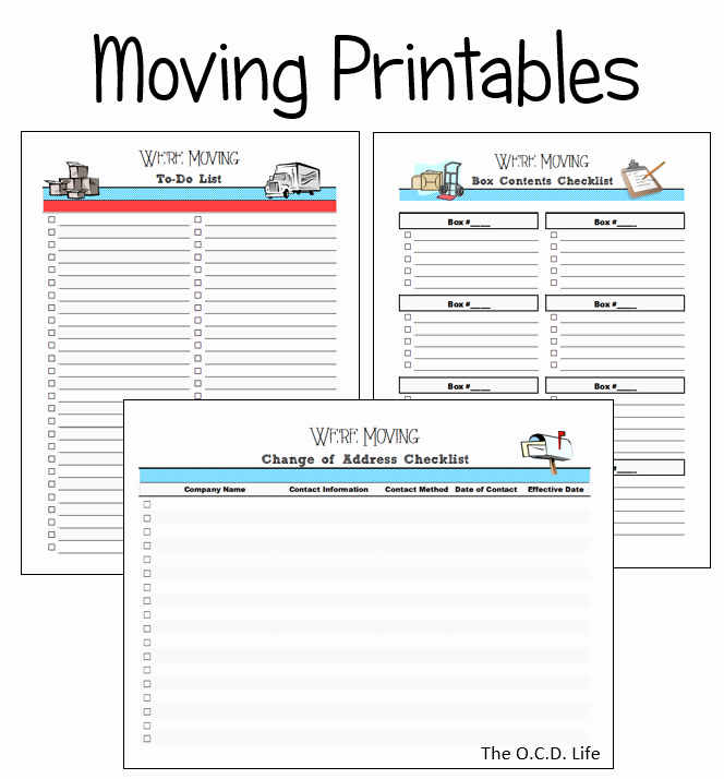 Moving Checklist Printable Template Inspirational Moving Printables