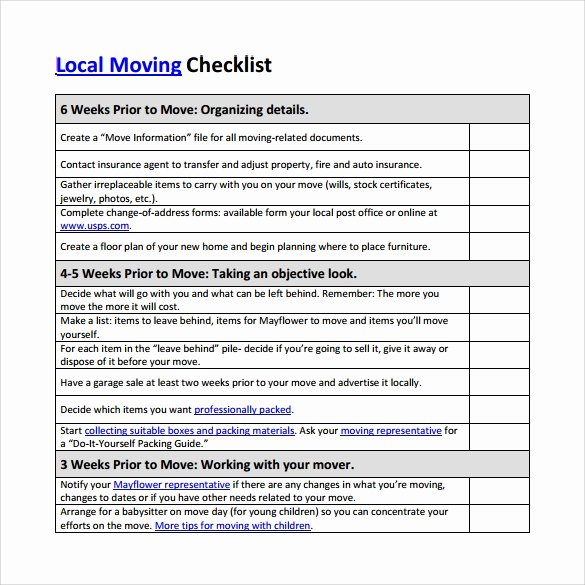 Moving Checklist Printable Template Lovely 10 Sample Moving Checklist Templates to Download for Free