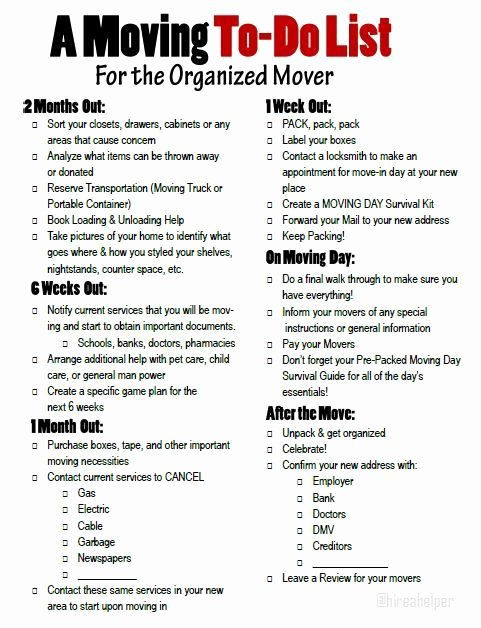 Moving Checklist Printable Template Lovely A Moving to Do List for the organized Mover Free