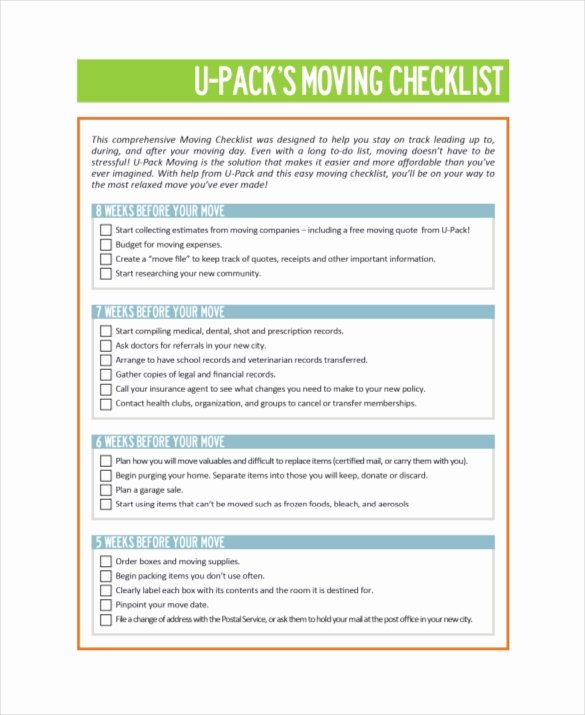 Moving Checklist Printable Template Luxury Moving Checklist Template 20 Word Excel Pdf Documents