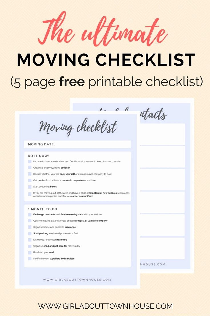 Moving Checklist Printable Template New Ultimate Moving Checklist Free Printable