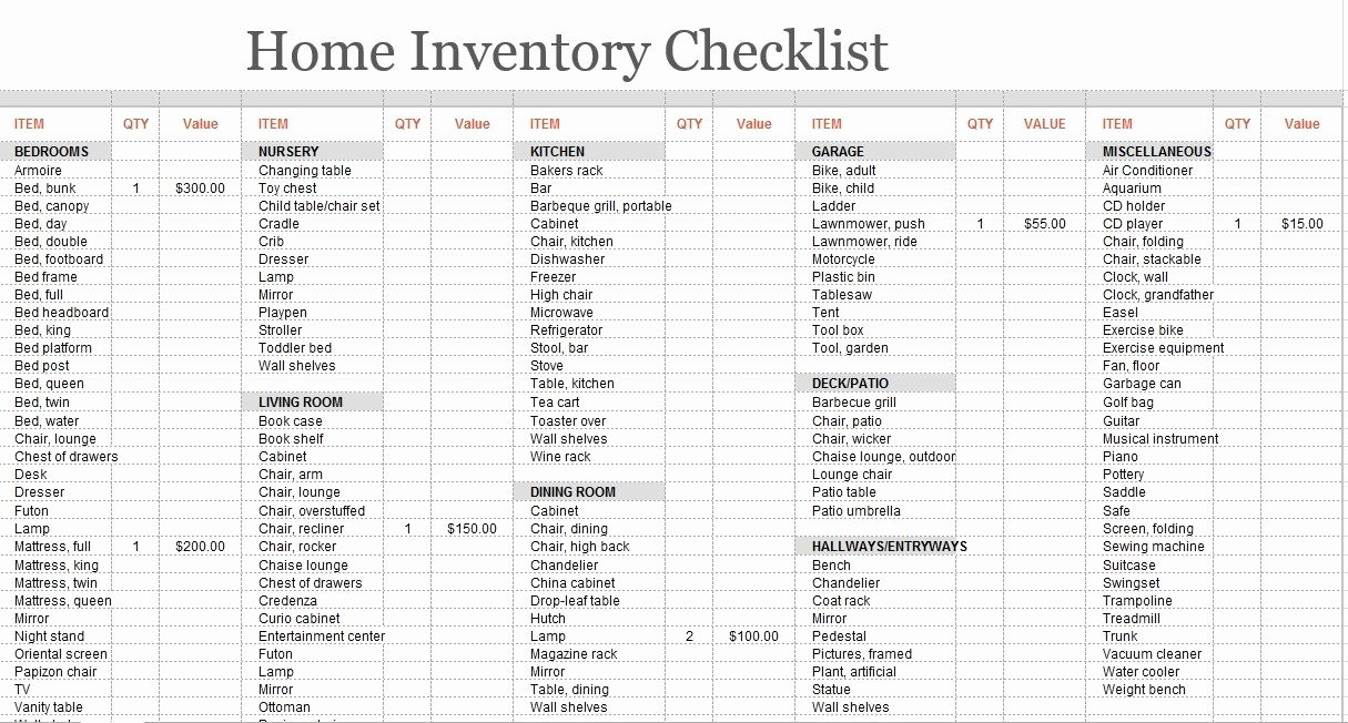 Moving Inventory List Template Beautiful 8 Free Sample Moving Inventory List Templates Printable