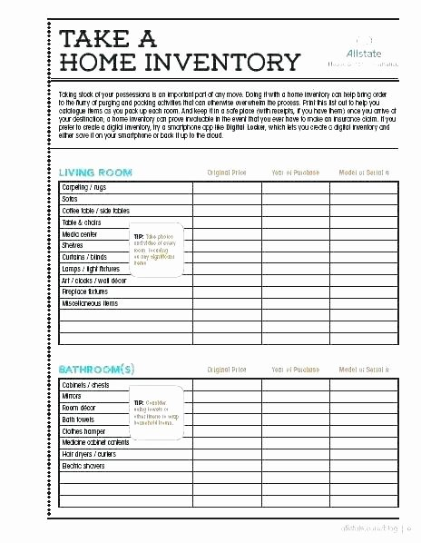 Moving Inventory List Template Beautiful Home Inventory List Template New Household
