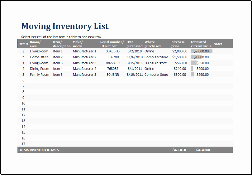 Moving Inventory List Template Fresh Ms Excel Printable Moving Inventory List Template