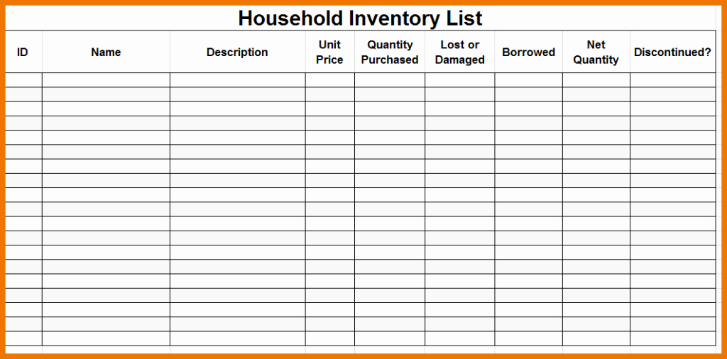 Moving Inventory List Template Inspirational Moving Inventory List Home Inventory Template for Your