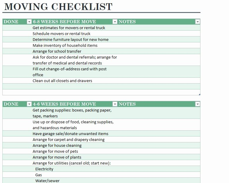 Moving Inventory List Template New Home Moving Checklist