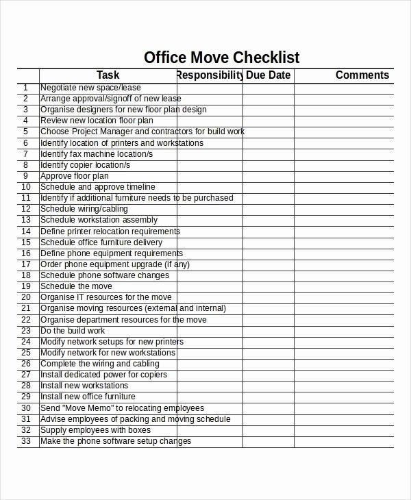 Moving Office Checklist Template Best Of Checklist Template 19 Free Word Excel Pdf Documents
