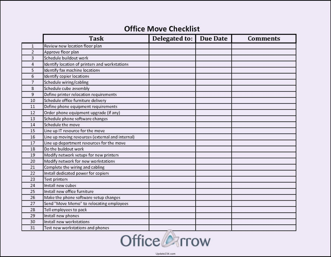 Moving Office Checklist Template Lovely Fice Move Checklist Template Excel Template Update234