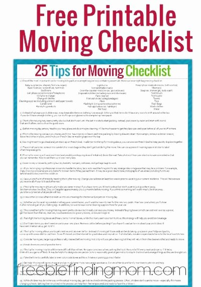Moving Office Checklist Template New 25 Tips for Moving Successfully and with Sanity Free
