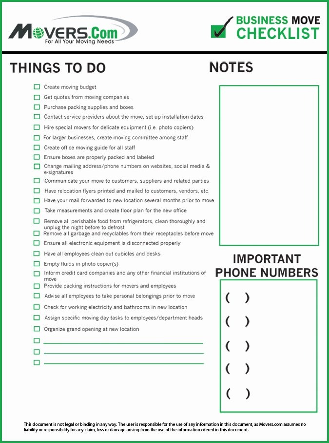 Moving Office Checklist Template New Business Relocation Checklist