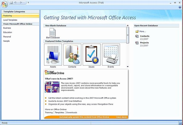 Ms Access 2007 Template Unique Create A Microsoft Access 2007 Database Using A Template