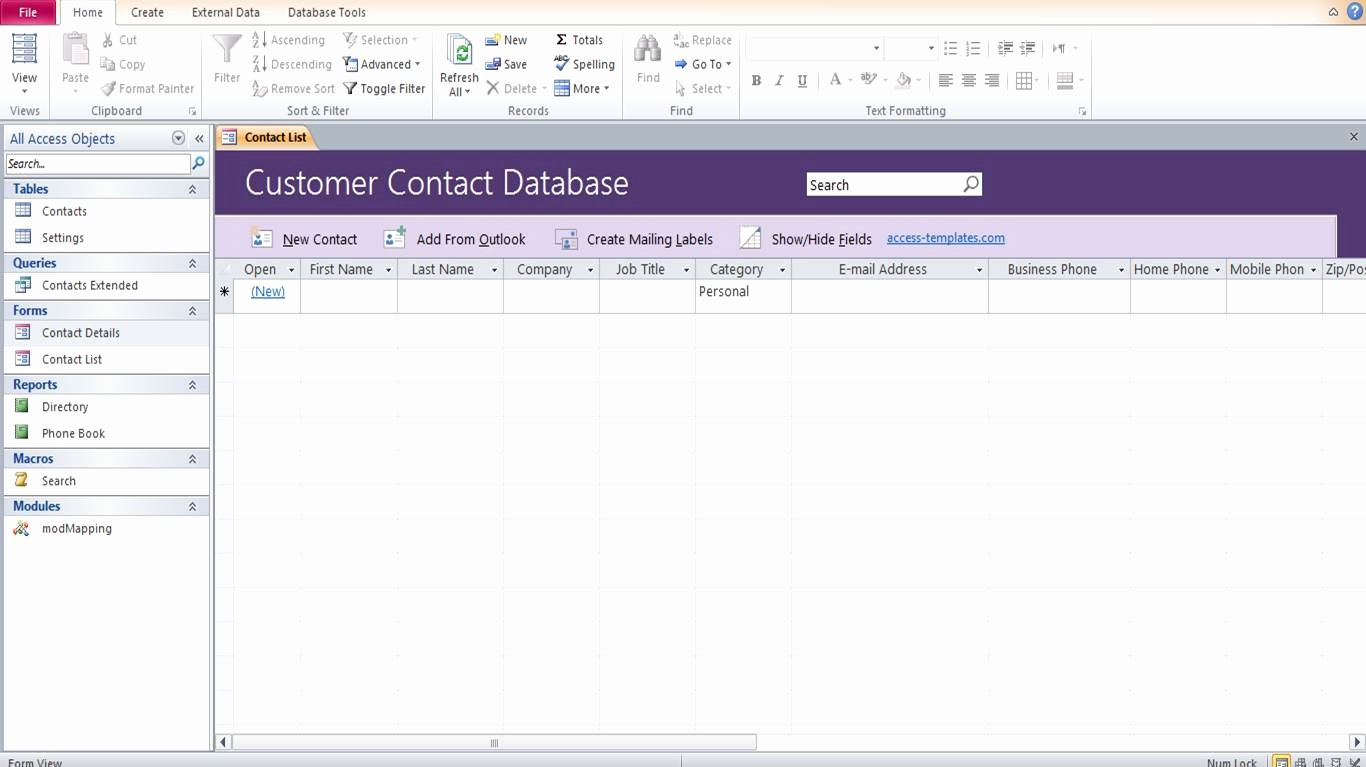 Ms Access Customer Database Template Lovely Microsoft Access Customer Contact Database