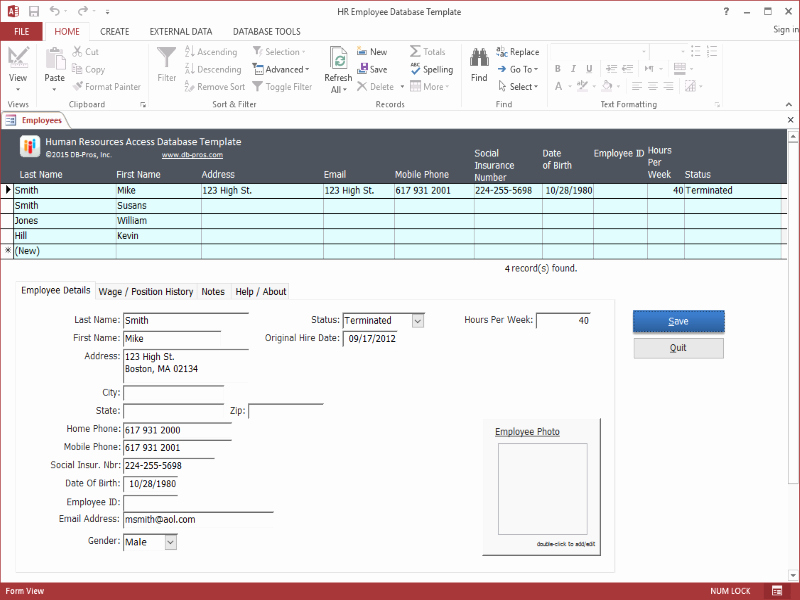 Ms Access Database Template Awesome Hr Employee Ms Access Database Template 2 1 0 Download