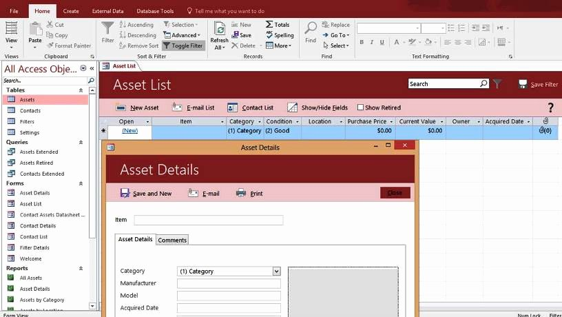Ms Access Database Template Inspirational Microsoft Access asset Tracking Management Database