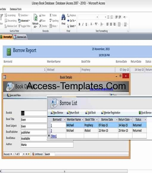 Ms Access Database Template Inspirational Microsoft Access Library Book Management Database