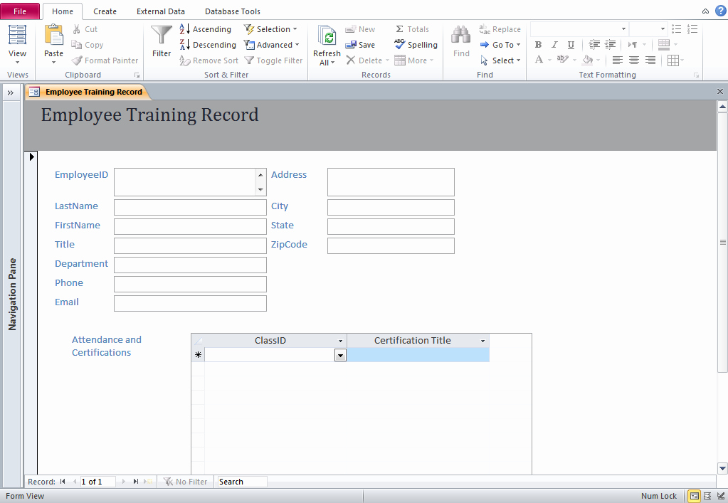 Ms Access Database Template Lovely Access Training Database Templates Employee Training Database