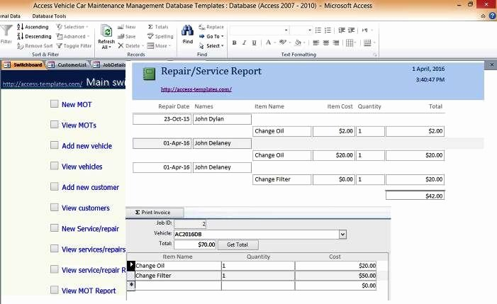 Ms Access Project Management Template Inspirational Car and Vehicle Maintenance Access Database Management