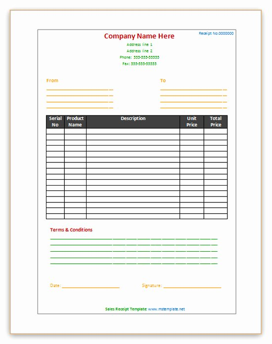 Ms Office Receipt Template Beautiful Sales Receipt Template Microsoft Fice Templates