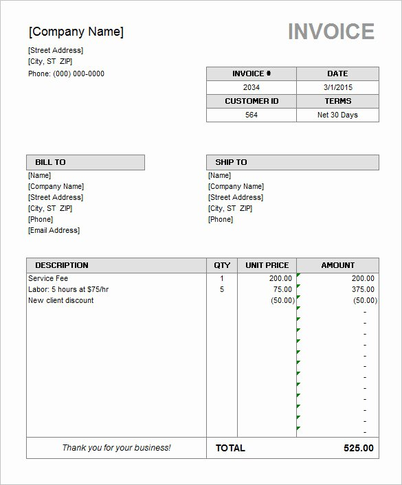 Ms Office Receipt Template Elegant 60 Microsoft Invoice Templates Pdf Doc Excel