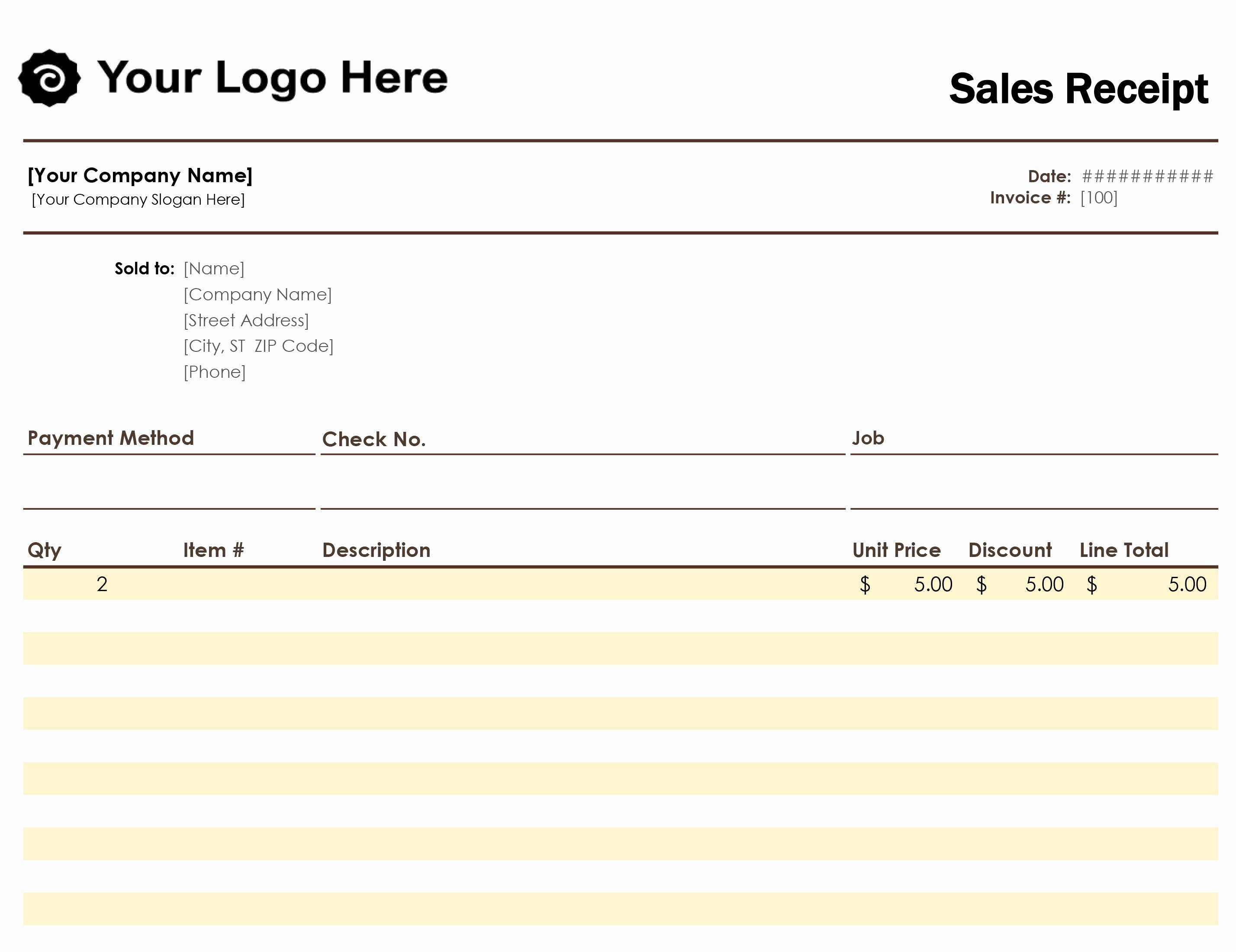 Ms Office Receipt Template New Sales Receipt Simple Blue Design