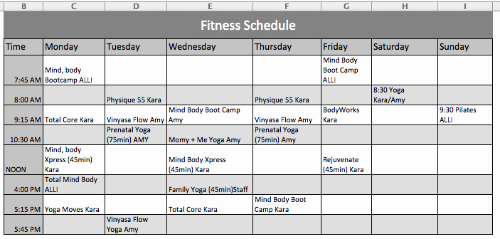 Ms Office Schedule Template Best Of Fitness Schedule Template Microsoft Fice Templates