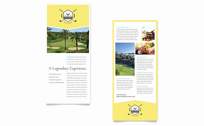 Ms Publisher Postcard Template Awesome Golf Resort Rack Card Template Word & Publisher