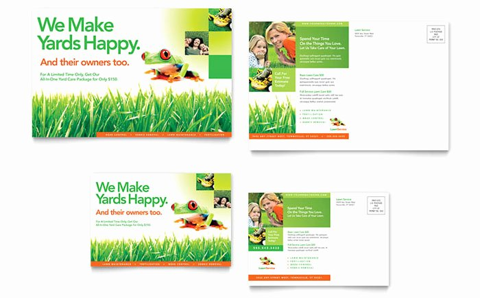 Ms Publisher Postcard Template Beautiful Lawn Maintenance Postcard Template Design