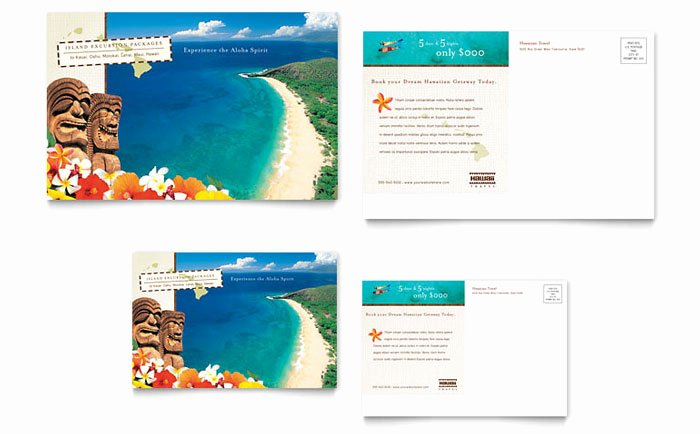 Ms Publisher Postcard Template Luxury Hawaii Travel Vacation Postcard Template Design