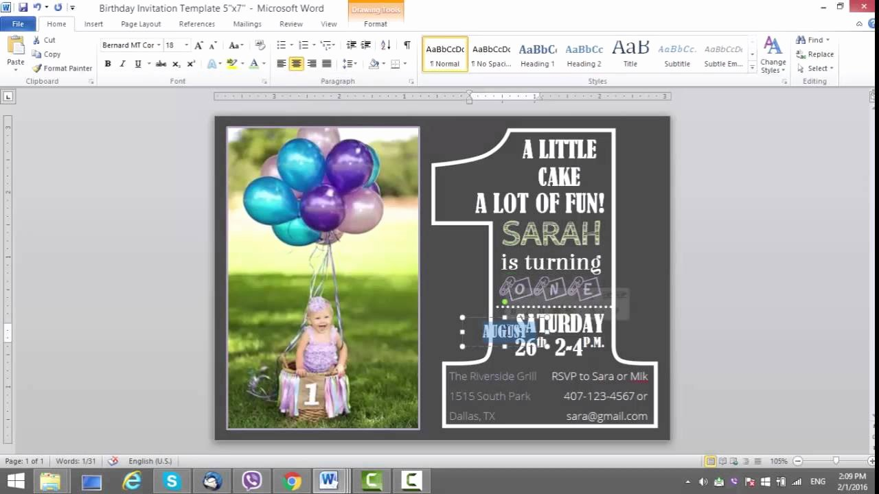 Ms Word Birthday Card Template Elegant 1st Birthday Invitation Template for Ms Word