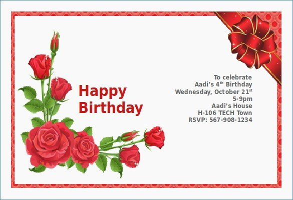 Ms Word Birthday Card Template Lovely Birthday Invitation Card Sample – Draestantfo