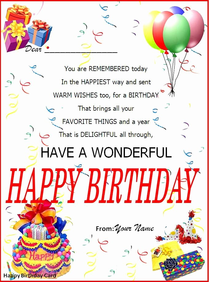 Ms Word Birthday Card Template New Birthday Card Word Template