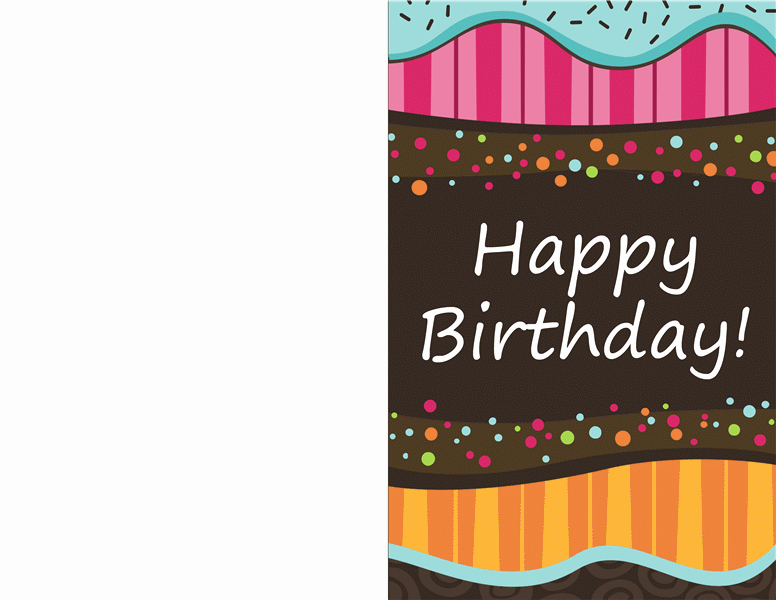 Ms Word Birthday Card Template Unique Birthday Card Dots and Stripes Kids Half Fold