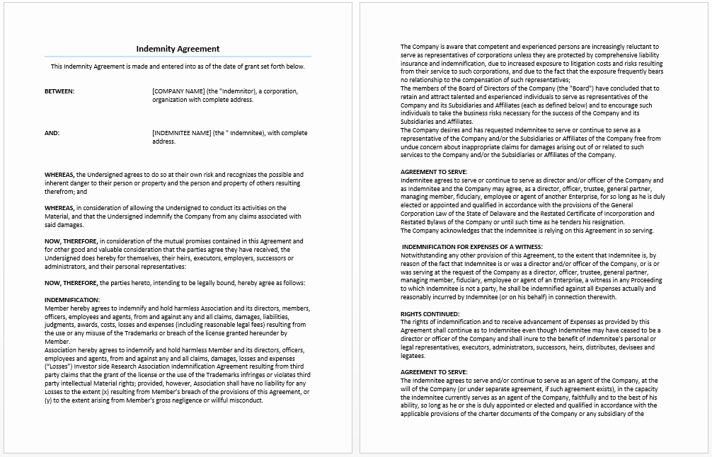 Ms Word Contract Template Awesome Indemnity Agreement Template – Microsoft Word Templates
