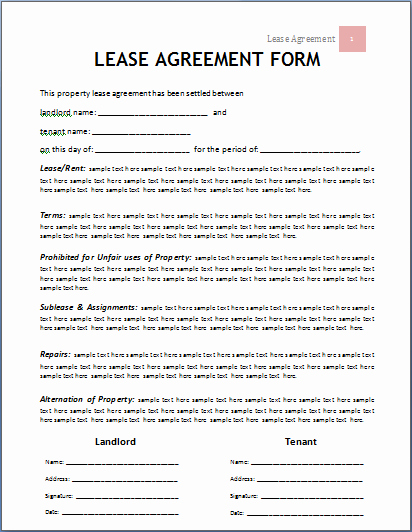Ms Word Contract Template Awesome Lease Agreement form
