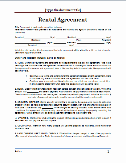 Ms Word Contract Template Awesome Lease Agreement Template Word