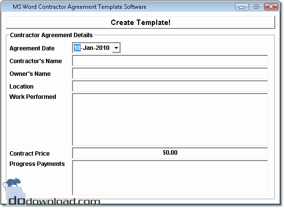 Ms Word Contract Template Awesome Ms Word Contractor Agreement Template software Image