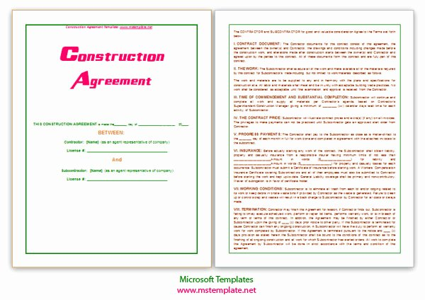 Ms Word Contract Template Beautiful Microsoft Word Templates Construction Agreement Template