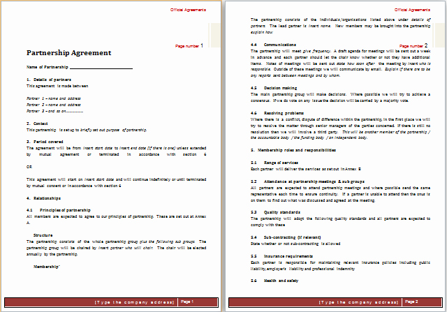 Ms Word Contract Template Elegant Partnership Agreement Template for Ms Word