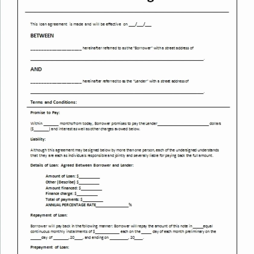 Ms Word Contract Template Elegant Personal Loan Template Microsoft
