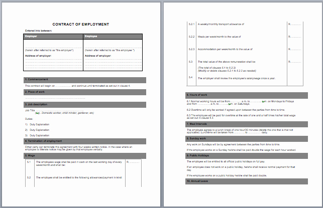 contract labor agreement template