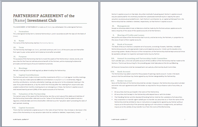 Ms Word Contract Template New Partnership Contract Template Microsoft Word Templates