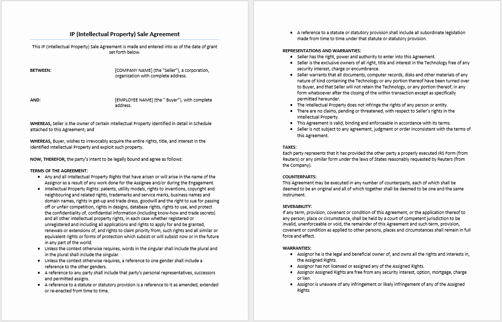 Ms Word Contract Template Unique Intellectual Property Sale Agreement Template Microsoft