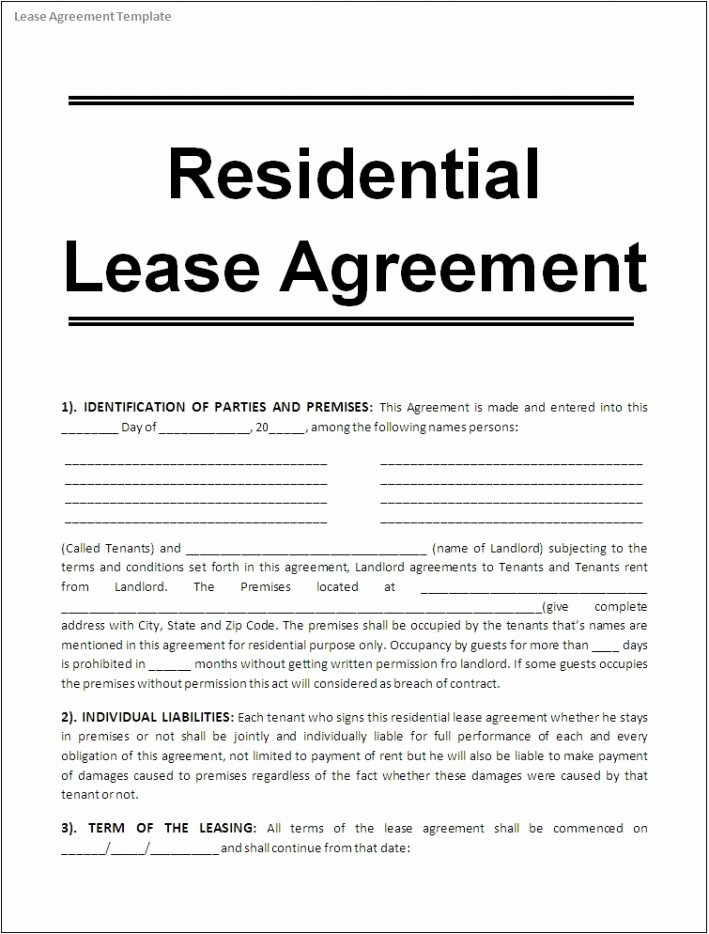 Ms Word Contract Template Unique Lease Agreement Template Word