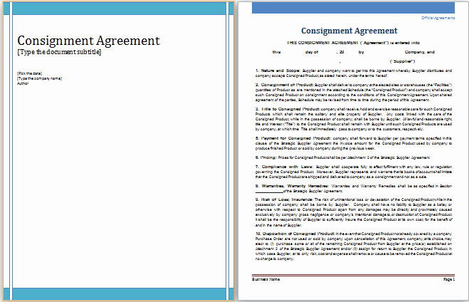 Ms Word Contract Template Unique Ms Word Consignment Agreement Template