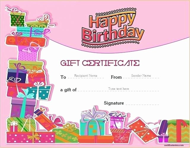 Ms Word Gift Certificate Template Best Of Birthday T Certificate Template for Word