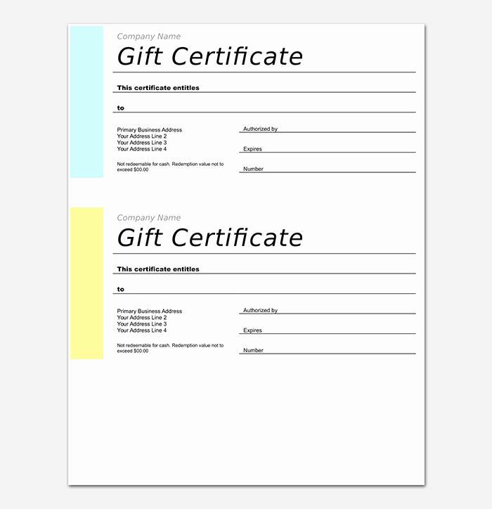 Ms Word Gift Certificate Template Elegant 44 Free Printable Gift Certificate Templates for Word & Pdf