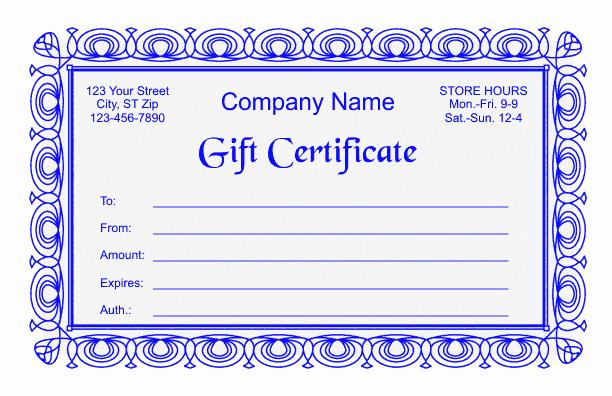 Ms Word Gift Certificate Template Elegant Gift Certificate Template 2