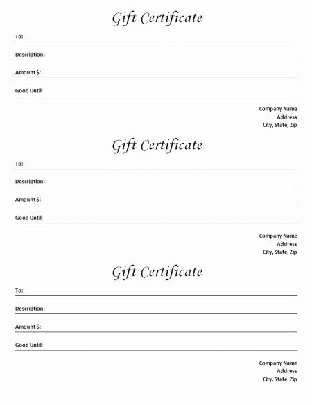 Ms Word Gift Certificate Template Fresh Gift Certificate Template Blank Microsoft Word Document