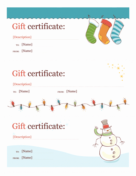 Ms Word Gift Certificate Template Luxury Holiday Gift Certificate Template Word Christmas Free