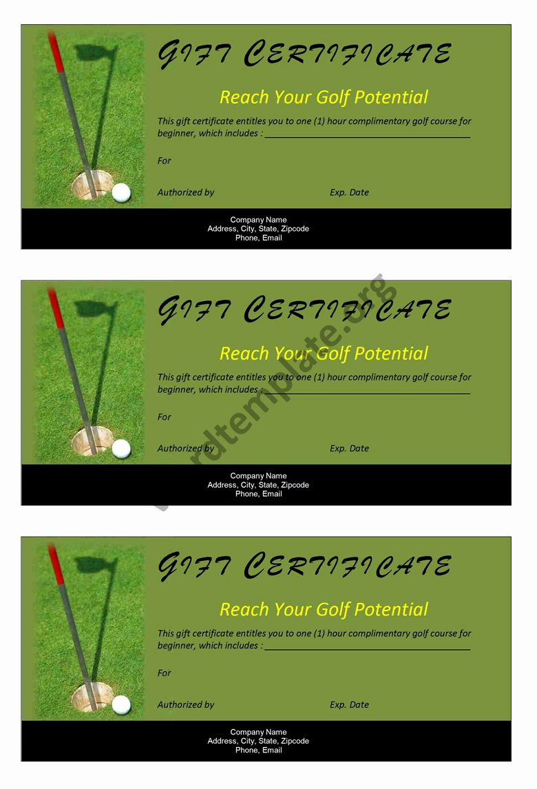 Ms Word Gift Certificate Template Unique Golf Gift Certificate Template